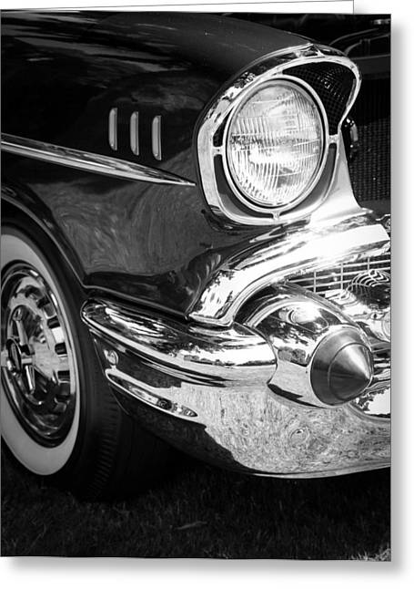 1949 Plymouth Greeting Cards - 57 Chevy Black Greeting Card by Steve McKinzie