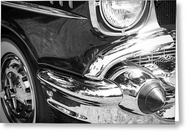 57 Chevy Black Greeting Card by Steve McKinzie