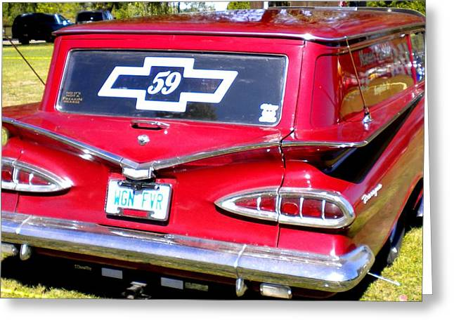 Red Chev Greeting Cards - 59 Chevy Greeting Card by Renate Nadi Wesley
