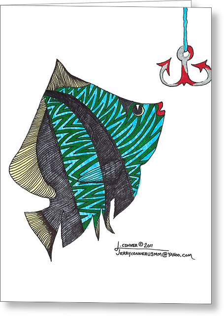 Photoshop Drawings Greeting Cards - Fish Greeting Card by Jerry Conner
