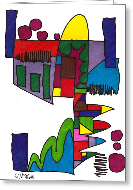 Indigo Drawings Greeting Cards - Untitled Greeting Card by Teddy Campagna