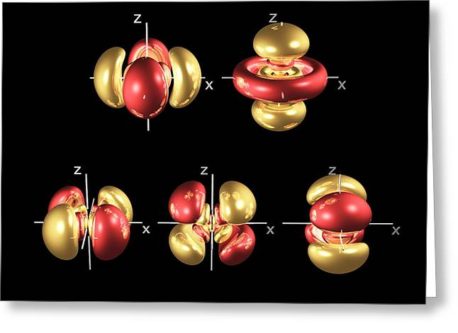 5d Electron Orbitals Greeting Card by Dr Mark J. Winter