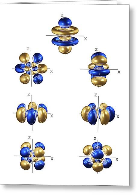 Electron Orbital Greeting Cards - 5f Electron Orbitals, General Set Greeting Card by Dr Mark J. Winter