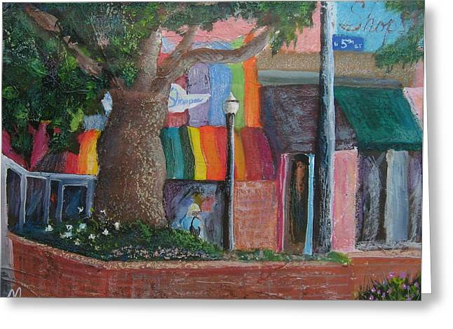 Town Mixed Media Greeting Cards - 5th And Main Greeting Card by Melody Horton Karandjeff