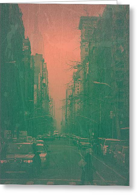 Beautiful Cities Greeting Cards - 5th Avenue Greeting Card by Naxart Studio