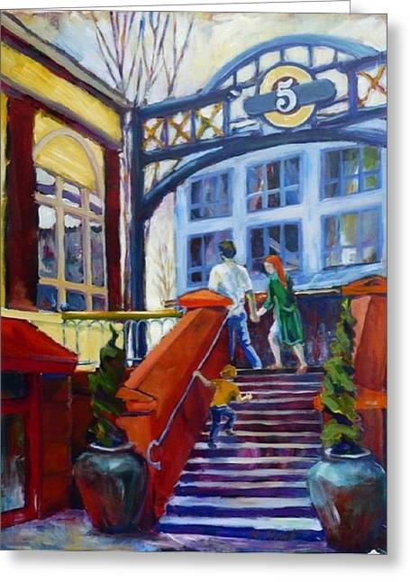 Impressionistic Market Greeting Cards - 5th Street Market  Greeting Card by Margaret  Plumb
