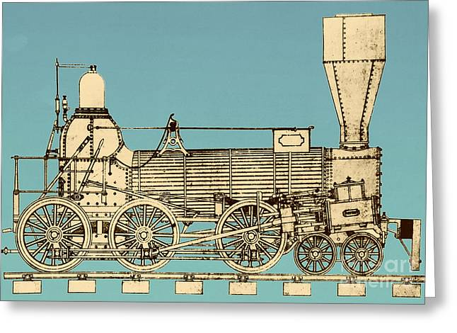 19th Century Locomotive Greeting Card by Omikron