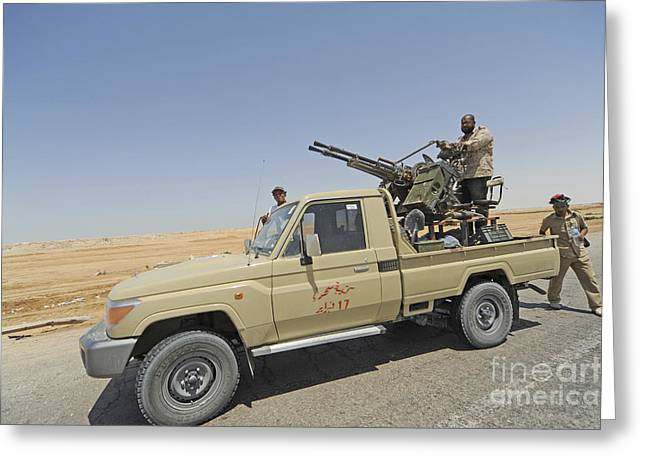 Intervention Greeting Cards - A Free Libyan Army Pickup Truck Greeting Card by Andrew Chittock
