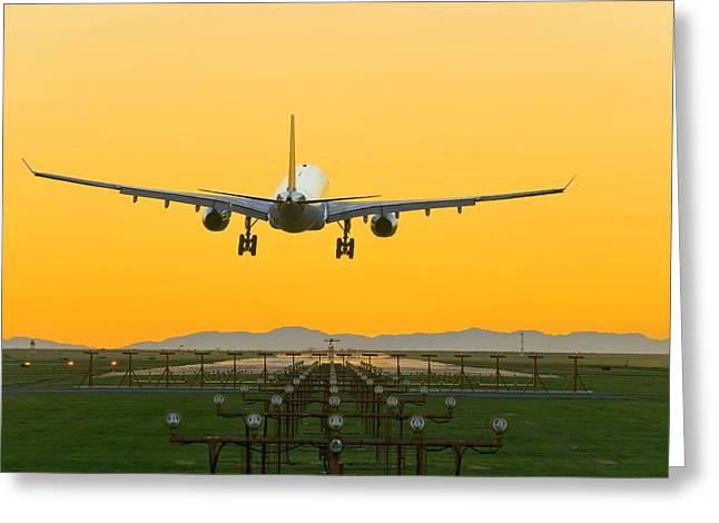 Airbus Greeting Cards - Aeroplane Landing, Canada Greeting Card by David Nunuk