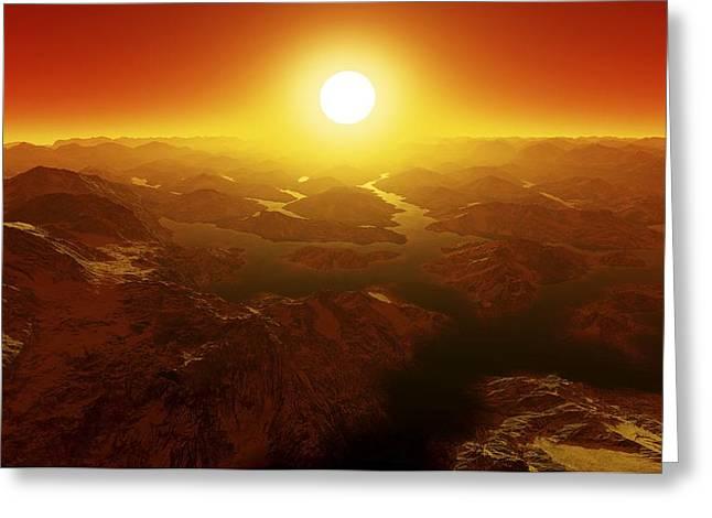 Earthlike Greeting Cards - Alien Landscape, Artwork Greeting Card by Detlev Van Ravenswaay