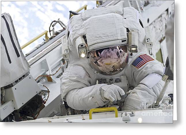 Spacesuit Greeting Cards - Astronaut Participates In A Session Greeting Card by Stocktrek Images