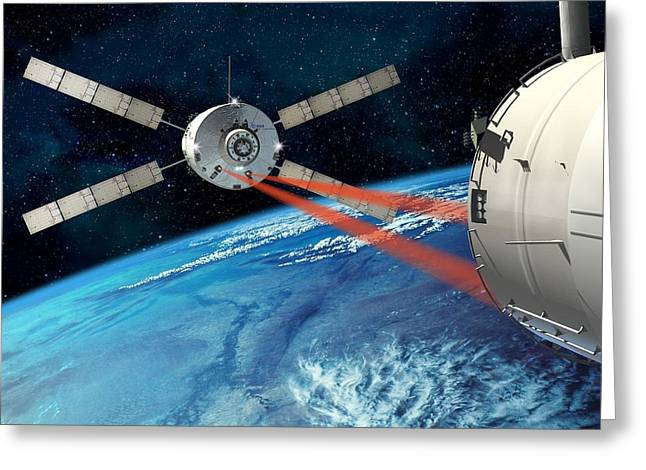 Resupply Greeting Cards - Atv Approaching The Iss, Artwork Greeting Card by David Ducros