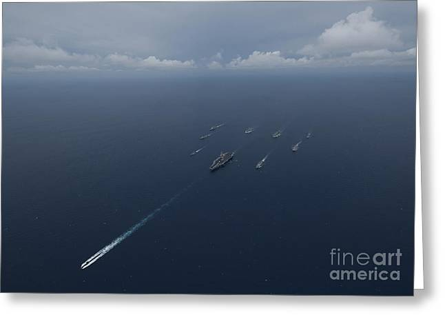Cooperation Greeting Cards - Carrier Strike Group Formation Of Ships Greeting Card by Stocktrek Images
