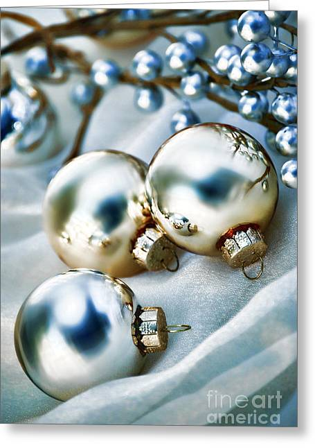 Baubles Greeting Cards - Christmas Ornaments Greeting Card by HD Connelly