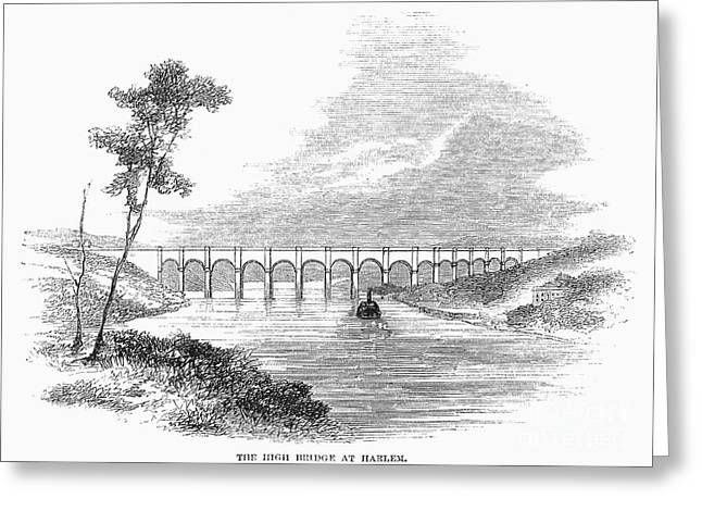 Harlem River Greeting Cards - Croton Aqueduct, 1860 Greeting Card by Granger