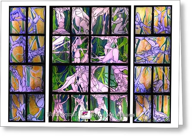 People Tapestries - Textiles Greeting Cards - 6 Degrees of Separation Greeting Card by Carol Rashawnna Williams