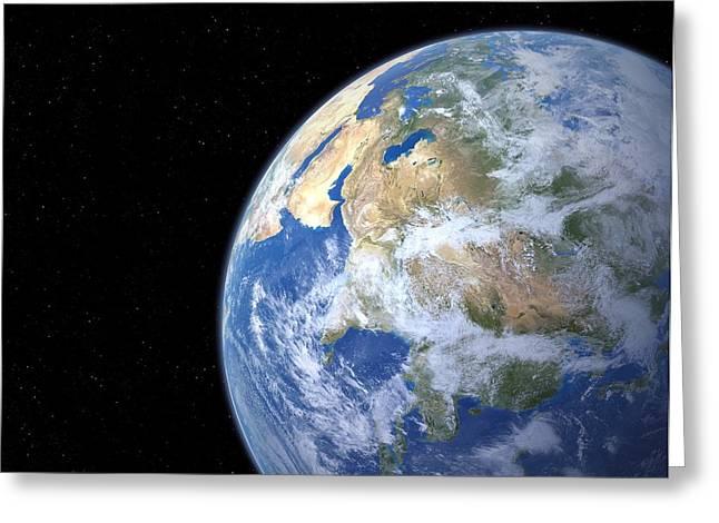 Western Asia Greeting Cards - Earth From Space, Artwork Greeting Card by Detlev Van Ravenswaay