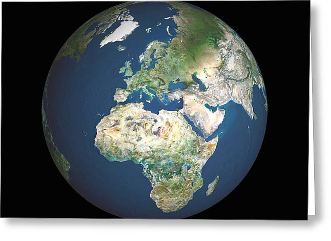 Northern Africa Greeting Cards - Earth Greeting Card by Planetobserver