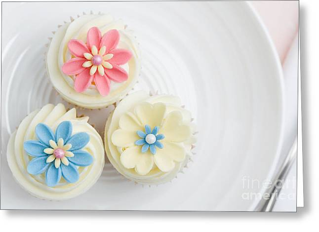 Tea Party Greeting Cards - Flower cupcakes Greeting Card by Ruth Black