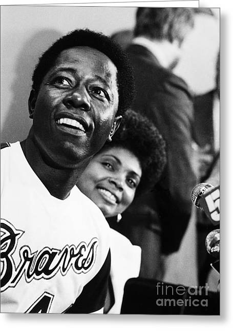 Press Conference Greeting Cards - Hank Aaron (1934- ) Greeting Card by Granger