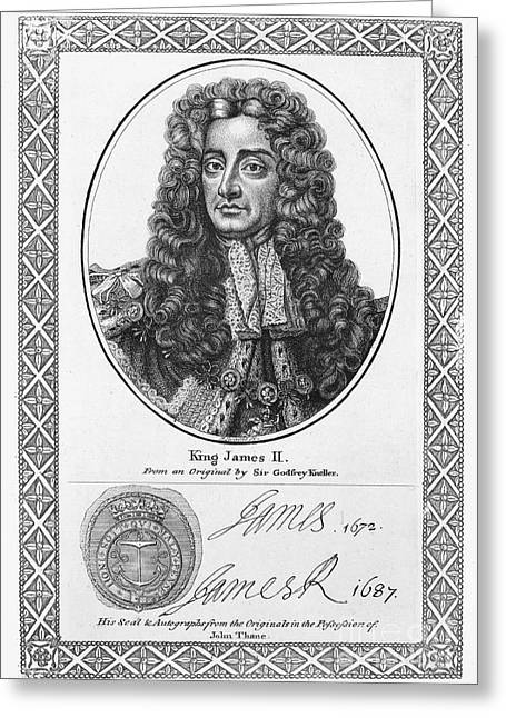 Autographed Greeting Cards - James Ii (1633-1701) Greeting Card by Granger