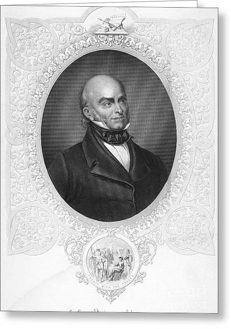 Lapel Greeting Cards - John Quincy Adams Greeting Card by Granger