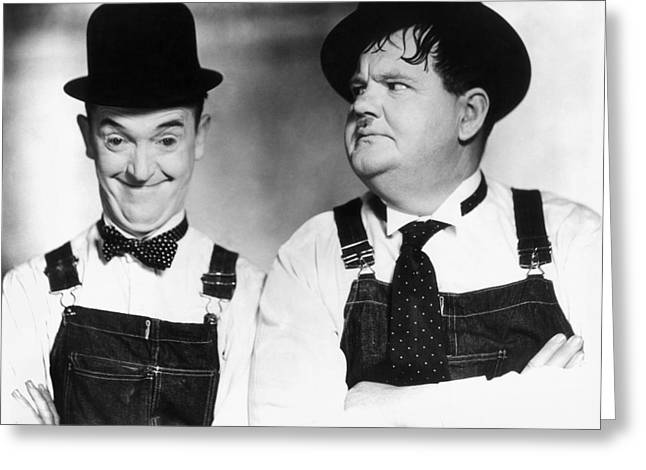 Overalls Greeting Cards - Laurel And Hardy Greeting Card by Granger