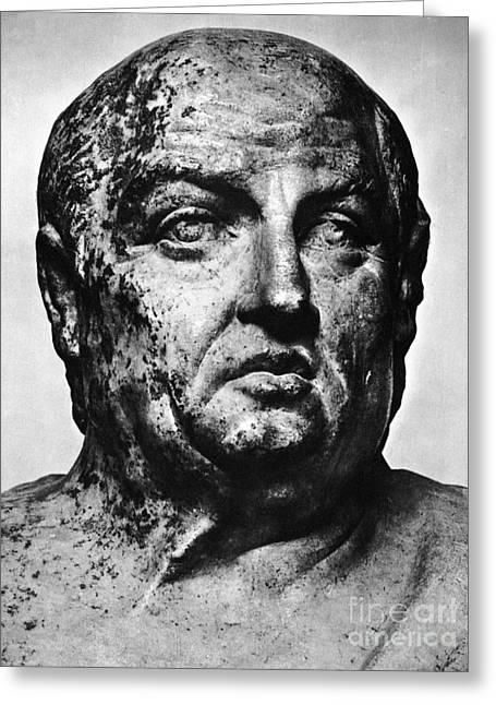 Statue Portrait Photographs Greeting Cards - Lucius Annaeus Seneca Greeting Card by Granger