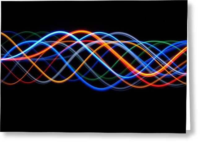 Sine Greeting Cards - Moving Lights, Abstract Image Greeting Card by Lawrence Lawry