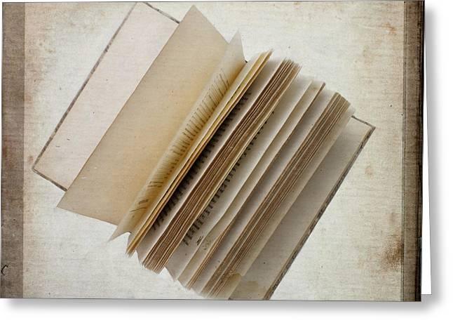 Texture Greeting Cards - Old book Greeting Card by Bernard Jaubert