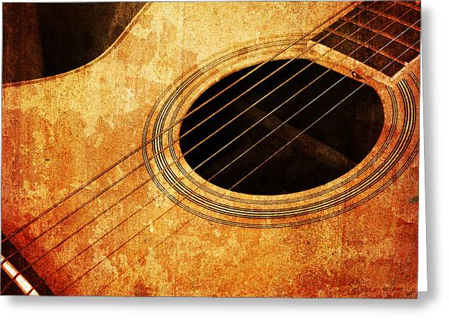 Consume Mixed Media Greeting Cards - Old Guitar Greeting Card by Nattapon Wongwean