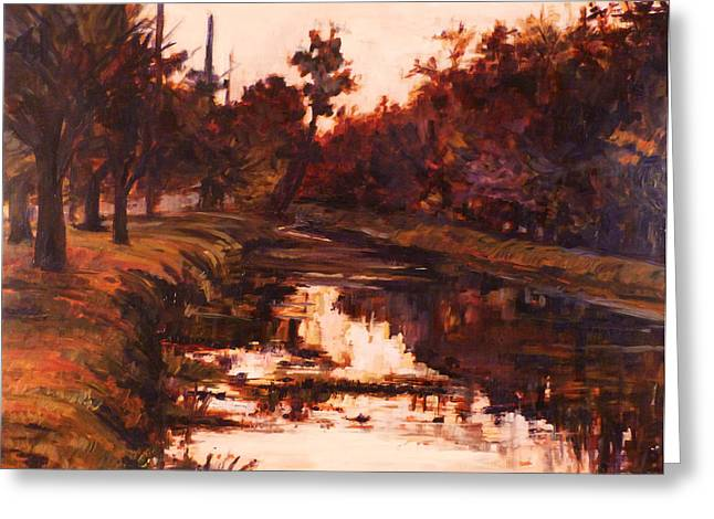 6 Pm On The Canal Greeting Card by Azhir Fine Art