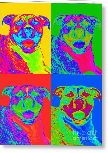 Bullie Greeting Cards - Pop Art Pitbull Greeting Card by Renae Laughner