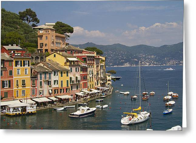 Tourists Greeting Cards - Portofino in the Italian Riviera in Liguria Italy Greeting Card by David Smith