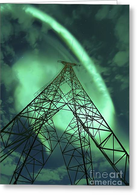 Lines Of Energy Greeting Cards - Powerlines And Aurora Borealis Greeting Card by Arild Heitmann
