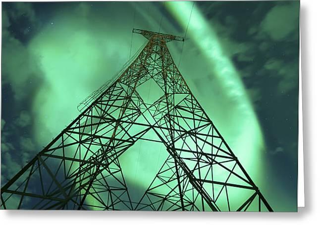 Powerlines And Aurora Borealis Greeting Card by Arild Heitmann