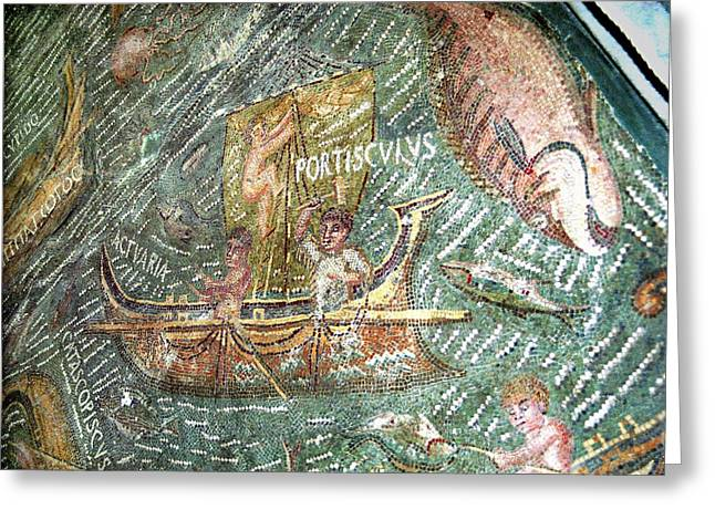 Boatman Greeting Cards - Roman Mosaic Greeting Card by Sheila Terry