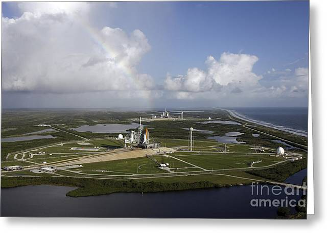 Atlantis Greeting Cards - Space Shuttle Atlantis And Endeavour Greeting Card by Stocktrek Images