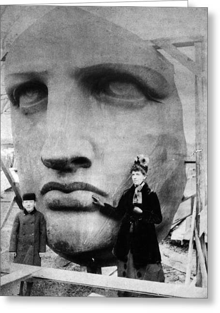 Woman Head Sculpture Greeting Cards - Statue Of Liberty, 1885 Greeting Card by Granger