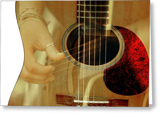 6 Strings And Some Fingers Greeting Card by Tilly Williams