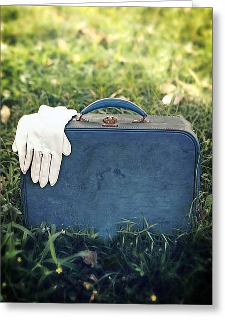 Leather Greeting Cards - Suitcase Greeting Card by Joana Kruse