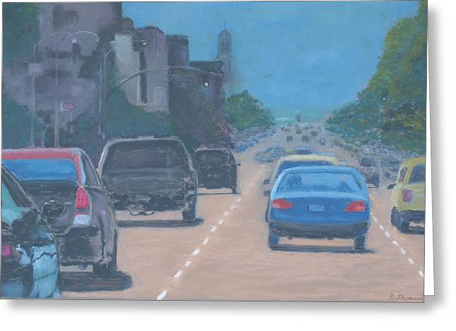 Traffic Pastels Greeting Cards - 6 Th. Street Greeting Card by David Thomson