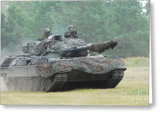 Off-the-shoulder Greeting Cards - The Leopard 1a5 Main Battle Tank Greeting Card by Luc De Jaeger