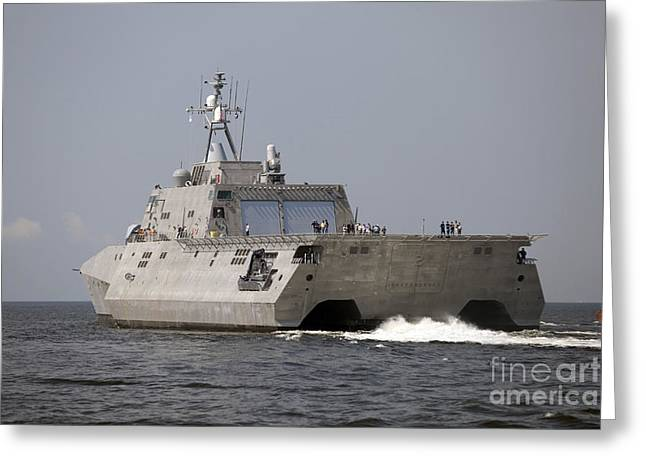 Trial Greeting Cards - The Littoral Combat Ship Independence Greeting Card by Stocktrek Images