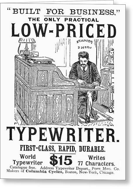 Texting Greeting Cards - Typewriter Ad, 1890 Greeting Card by Granger