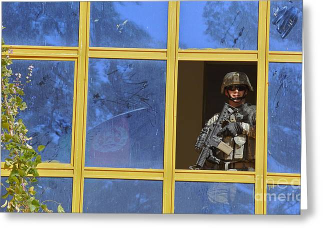 Holding Gun Greeting Cards - U.s. Army Soldier Provides Security Greeting Card by Stocktrek Images