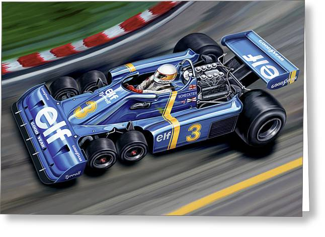 6 Greeting Cards - 6 Wheel Tyrrell P34 F-1 Car Greeting Card by David Kyte