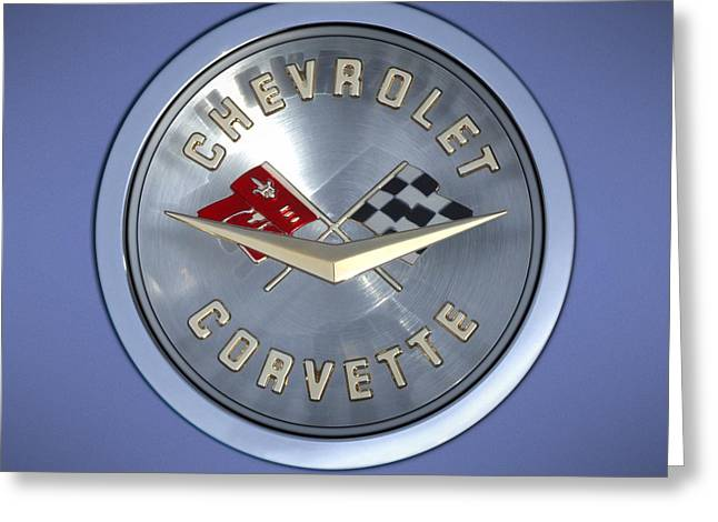 Classic Automobile Art Greeting Cards - 60 Chevy Corvette Emblem  Greeting Card by Mike McGlothlen