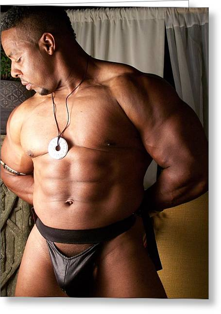 Georgia Bodybuilding Greeting Cards - Male Muscle Art Greeting Card by Jake Hartz