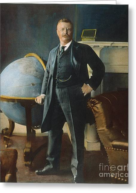 The White House Photographs Greeting Cards - Theodore Roosevelt Greeting Card by Granger
